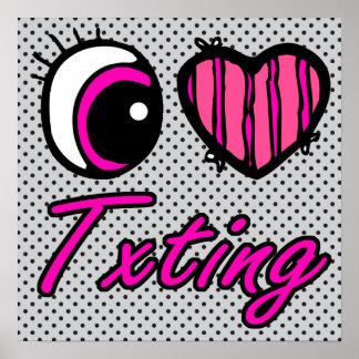 Emo Eye Heart I Love Txting Print