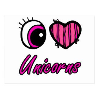 Emo Eye Heart I Love Unicorns Postcard