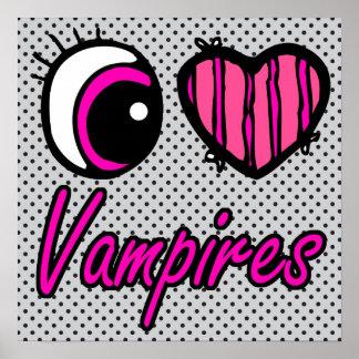 Emo Eye Heart I Love Vampires Posters