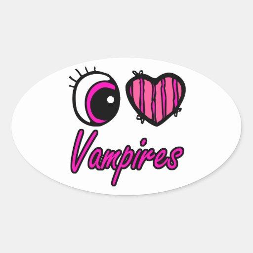 Emo Eye Heart I Love Vampires Sticker