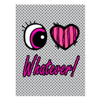 Emo Eye Heart I Love Whatever Postcard