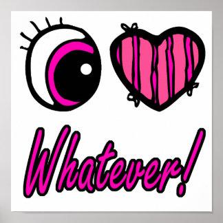 Emo Eye Heart I Love Whatever Print