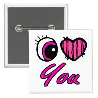 Emo Eye Heart I Love you 15 Cm Square Badge