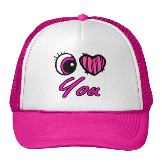 Emo Eye Heart I Love you Trucker Hat
