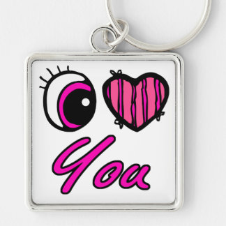 Emo Eye Heart I Love you Silver-Colored Square Key Ring