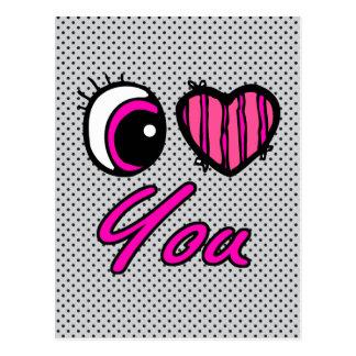 Emo Eye Heart I Love you Postcard