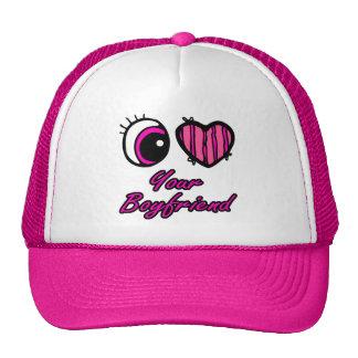 Emo Eye Heart I Love Your Boyfriend Mesh Hats