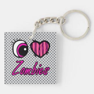Emo Eye Heart I Love Zombies Double-Sided Square Acrylic Key Ring