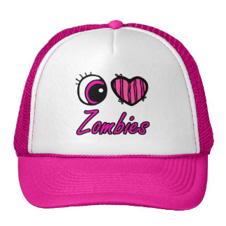 Emo Eye Heart I Love Zombies Mesh Hats