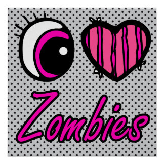 Emo Eye Heart I Love Zombies Poster