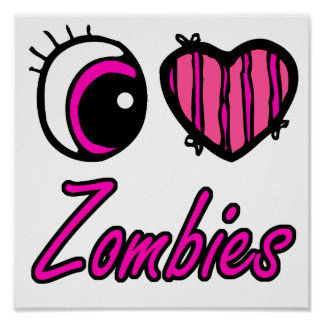 Emo Eye Heart I Love Zombies Posters