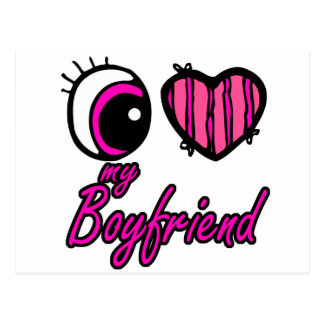 Emo Eye Heart I my Boyfriend Postcard