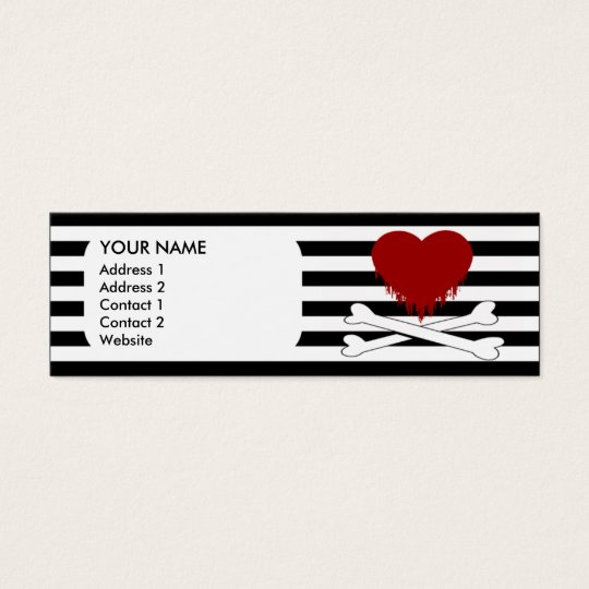 emo heart and crossbones mini business card