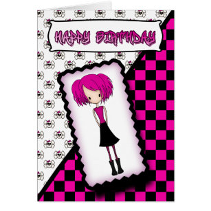 Emo birthday cards invitations zazzle emo or cyberpunk girl birthday card black pink bookmarktalkfo Images