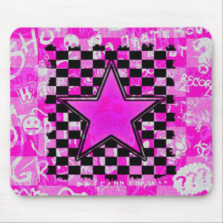 Emo Pink Graffiti Star Checkers Mouse Pad
