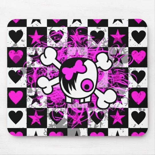 Emo Scene Cartoon Girl Skull Mouse Mat