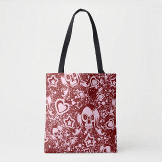 emo skull background tote bag