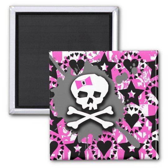 Emo Skull & Bones Square Magnet