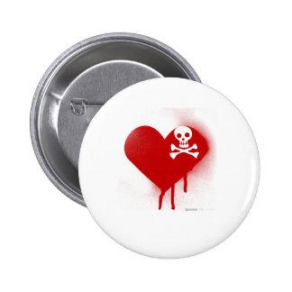 Emo Skull Heart Anti Valentines Day - Rock Grunge 6 Cm Round Badge