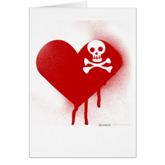 Emo Skull Heart Anti Valentines Day - Rock Grunge Greeting Card
