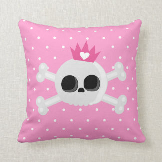 Emo Skull with Crown on Polka Dots Pink Background Cushion