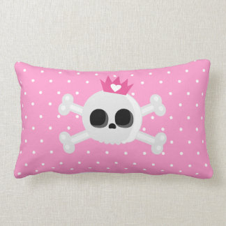 Emo Skull with Crown on Polka Dots Pink Background Lumbar Cushion