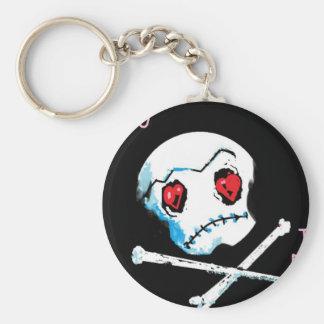 "Emo Skulls & Hearts : ""I love you death"" accessory Key Ring"