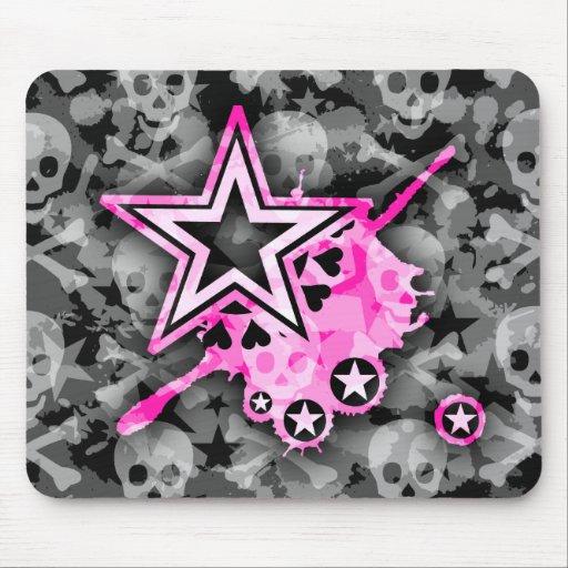 Emo Stars & Skulls Mouse Mat