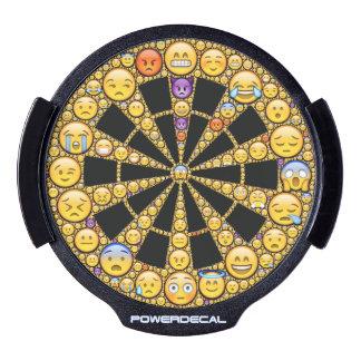 Emoji-art target design, bright yellow and black LED car decal