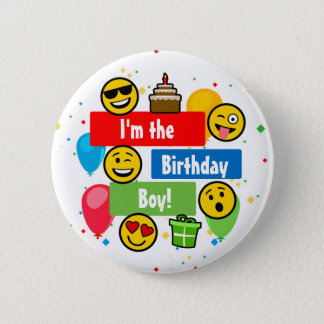 Emoji Birthday Party Kids Im the Birthday Boy 6 Cm Round Badge