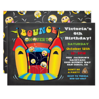 Emoji Chalkboard Bounce House Birthday Party Card