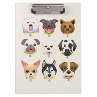 Emoji dog faces background clipboard