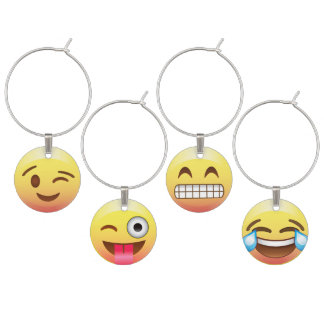 Emoji Faces Good Times Party Wine Charms