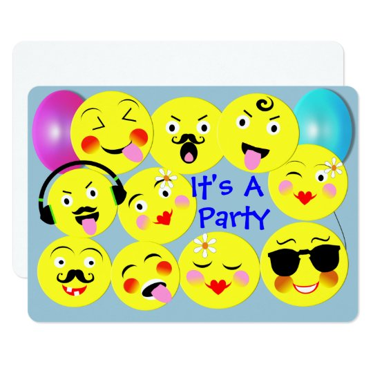 Emoji Fun Cute Trendy Smiley Faces Party Card