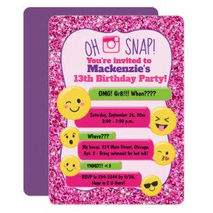 Emoji Girls Teen Tween Birthday Pink Glitter Invitation