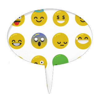 Emoji happy face cake topper