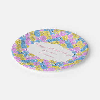 Emoji Happy Silly Pastel Faces Paper Plate