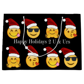 Emoji Holiday w/Personalized Text Large Gift Bag