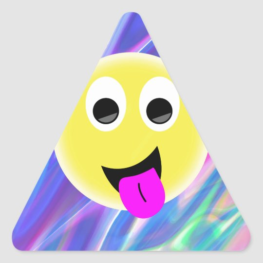 emoji hologram triangle sticker