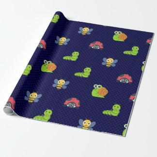 emoji lady bug caterpillar snail bee polka dots wrapping paper