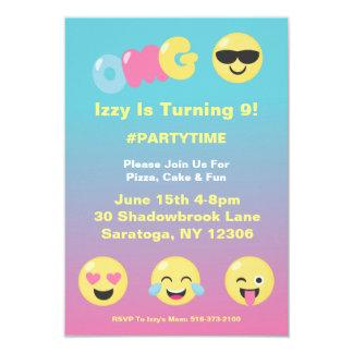 Emoji Ombre Girly Birthday Invitation