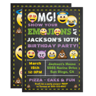Emoji Party OMG Birthay Invitation
