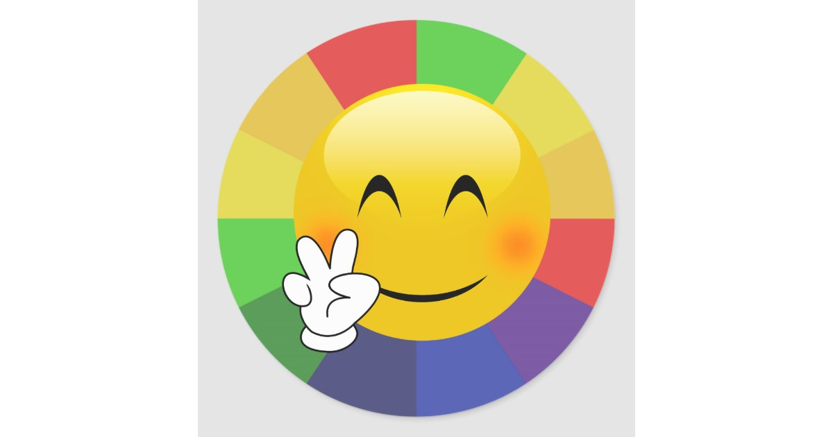Emoji Peace Sign Rainbow Burst Stickers Zazzle