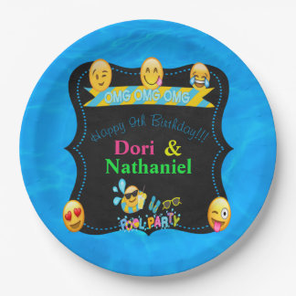 "Emoji Pool Party Birthday Plates 9"""