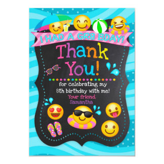 Emoji Pool Party Birthday Thank You Card