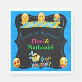 "Emoji Pool Water Party Birthday Napkins 6.5"" Paper Napkin"