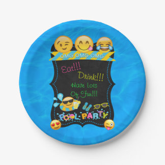 "Emoji Pool Water Party Birthday Plates 7"""