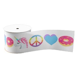 Emoji Ribbon - Unicorn, Peace, Love, Donut Grosgrain Ribbon