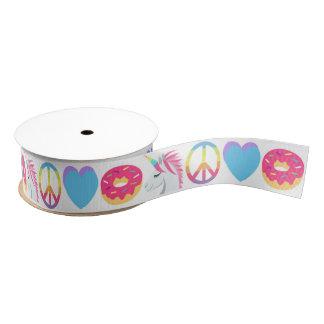 Emoji Ribbon - Unicorn, Peace, Love, Donut Grosgrain Ribbon