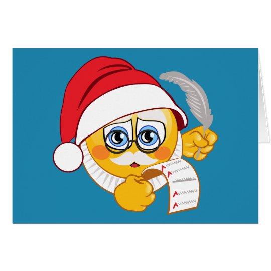 Emoji Santa's List Christmas holiday list Card